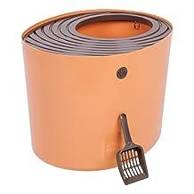 IRIS 587056 Top Entry Cat Litter Box, Orange