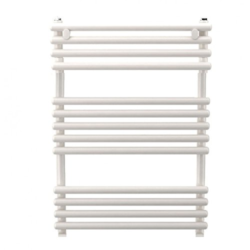 Seche serviette eau chaude tube acier plat blanc H714mm L600mm chauffage central 437W SANTORINI RADSON SA0607