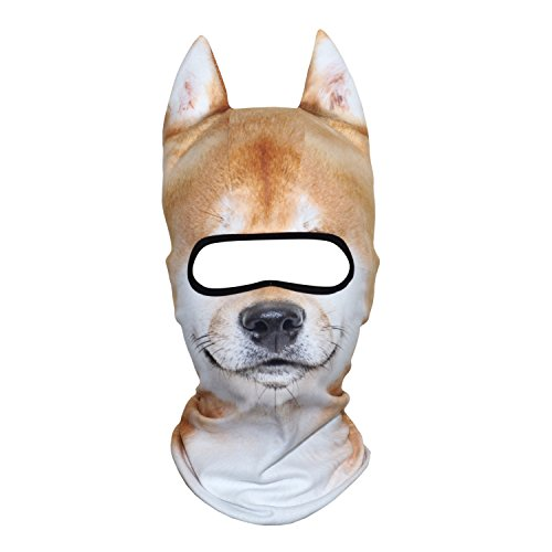 AXBXCX 3D Animal Ears Fleece Thermal Neck Warmer Windproof Hood Cover Face Mask Protection for Ski Snowboard Snowmobile Halloween Winter Cold Weather Shiba Inu MDD-03
