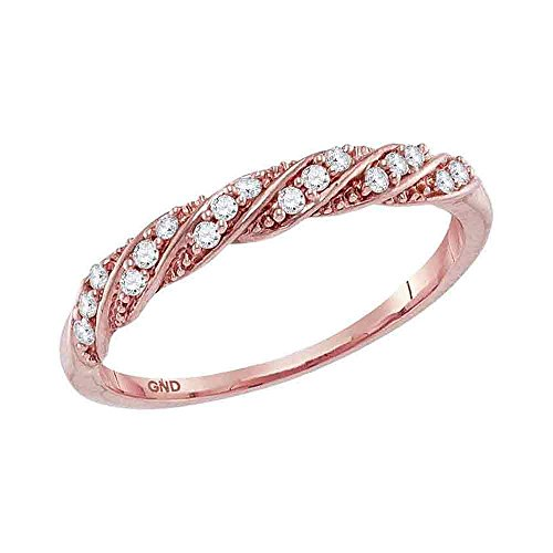 Size 5-10k Rose Gold Round Diamond Stripe Stackable Band Ring 1/8 Ct. ()