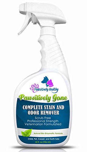 Dog Cat Pet Urine Smell - Strongest Enzyme Cleaner, Stain And Odor Remover - Scrub Free - Guaranteed - Carpet Rug & Upholstery Safe, Professional Strength, Veterinary Formula - Pawsitively Gone