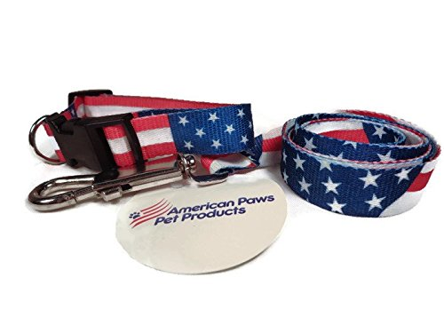Dog Collar & Leash Set American Flag Design for Small & Medium Pets. Fits most Male & Female dogs GUARANTEED. Patriotic Designer Nylon Collars with Stars & Stripes are GREAT for Independence Day Event (Male Puppy Collar And Leash)