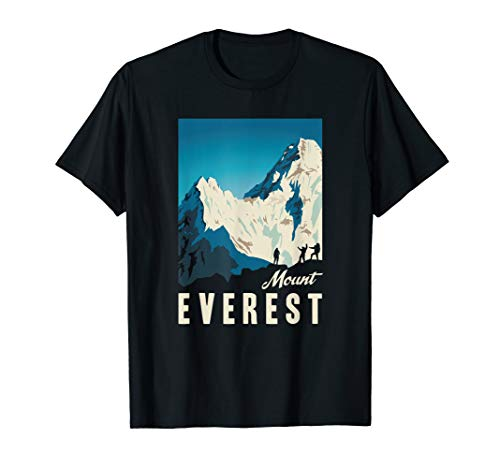 Retro Mount Everest Climbing Travel Poster Gift T-Shirt