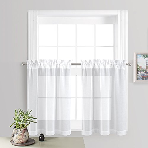 RYB HOME Sheer Drapes for Small Window Rod Pocket Elegant Thick Linen look Luxurious Textured Weave Semi-sheer Voile Curtains Set for Babies, 2 Pieces, Width 55 by Length 36 Inch, White