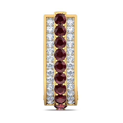 Or jaune 18K 0,42CT TW White-diamond (IJ | SI) et Rhodolite Boucles d'oreilles créoles