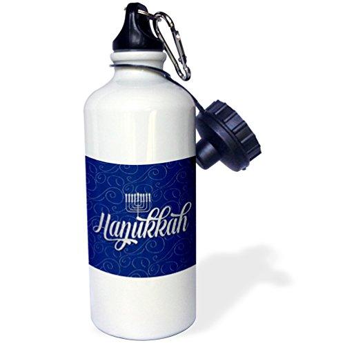 3dRose Doreen Erhardt Hanukkah Collection - Hanukkah with Menorah in Blue and Silver Swirls - 21 oz Sports Water Bottle (Collection Menorah)