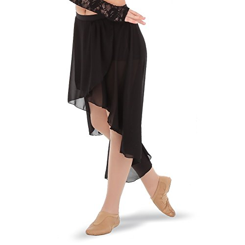 High Low Skirt Dance Costume (Gia-Mia Dance Big Girls' High-Low Chiffon Skirt Ballet Jazz Dance Costume Studio Practice Performance, Black, M)