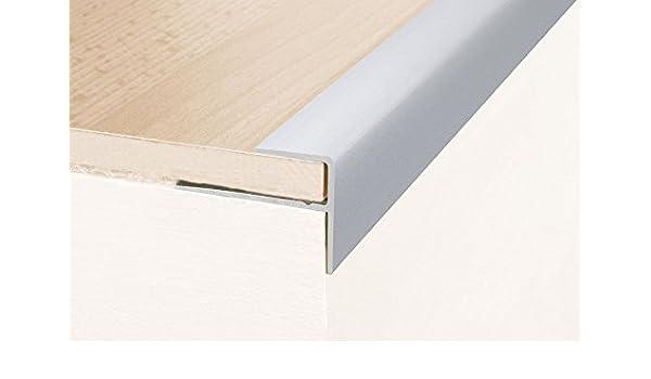 Perfil de escalera / Perfil angular / Mamperlán (parquet / laminado), Longitud: 90 cm, con 8 mm de elevación, 23 x 16 mm, aluminio anodizado - color: plateado: Amazon.es: Hogar