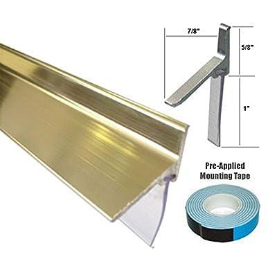 "Gold Framed Shower Door Replacement Bottom Deflector with Vinyl Sweep - 35"" Long"