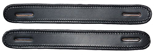 Leather Trunk Handle - Pair of Black Leather Slotted Steamer Trunk Handles By Congress Leather 100BLK