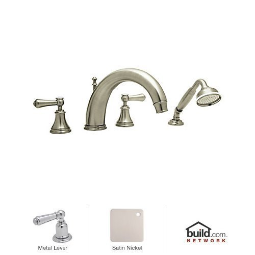 (Rohl U.3648LS-STN A7922Xmib U.3648Ls Georgian Era Deck Mount Tub Filler Faucet with Hand Shower, Satin Nickel by Rohl)