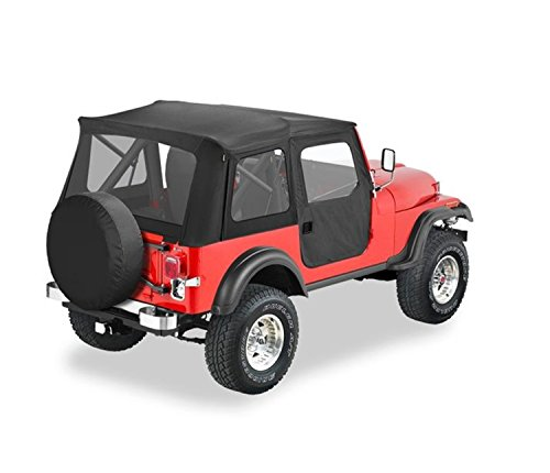 Bestop 51597-01 Black Crush Supertop Classic Replacement Soft Top with Clear Windows; 2-pc. Full Doors for 1976-1983 Jeep - Models Jeep Cj 1980