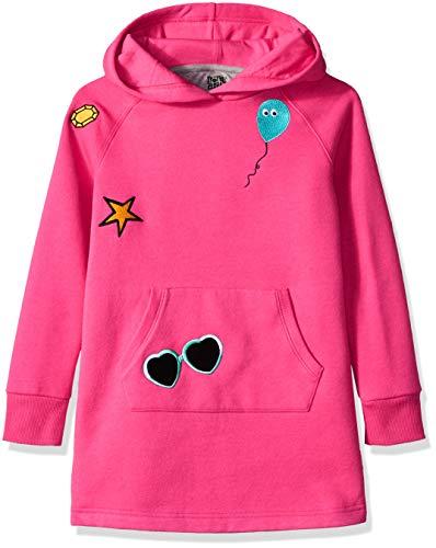 Amazon Brand - Spotted Zebra Girls' Big Kid Fleece Long-Sleeve Hooded Dress, Pink, Large (10)