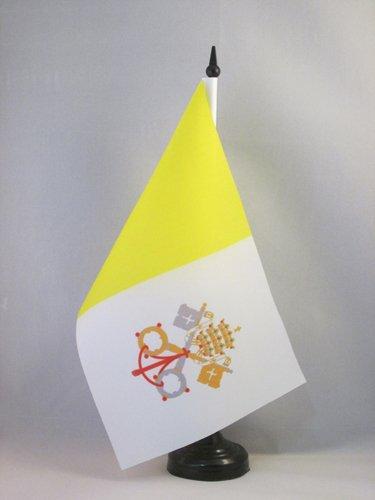 Vatican City Flag - AZ FLAG Vatican City Table Flag 5'' x 8'' - Vatican Desk Flag 21 x 14 cm - Black Plastic Stick and Base