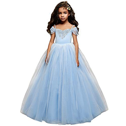 Cinderella Dress Princess Costume Halloween Party Dress up (10-11y, Blue 2)