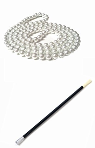 Bugsy Malone Costume Child (Beatnick Flapper Fancy Dress 1920 Charleston Pearl Beads Extended Cigarette Holder Set (Manchester Fancy Dress))