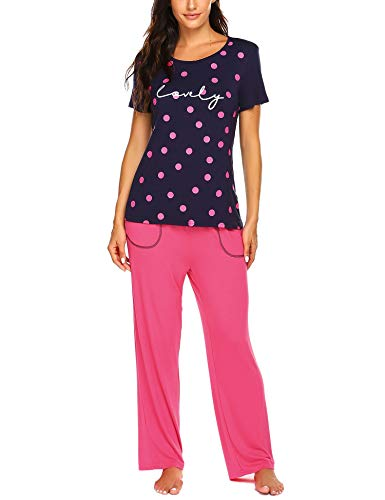 Ekouaer Womens Pajama Set Polka Dot Short Sleeves Shirt & Long Pants Pjs Set Soft Sleepwear Navy Blue Small