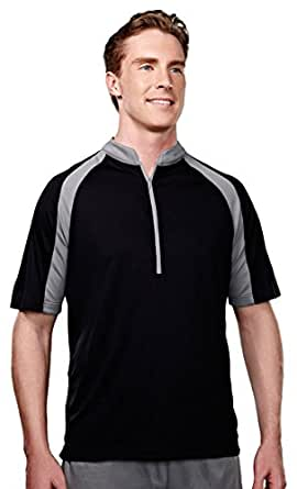 Tri-mountain Mens 100% Polyester Knit Pullover. - BLACK/STEEL GRAY - Small