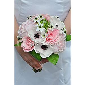 Silk Blooms Ltd Artificial Pale Pink Peony and Anemone Bridesmaid Bouquet w/Ornithogalum Flowers 14
