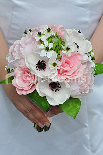 Silk-Blooms-Ltd-Artificial-Pale-Pink-Peony-and-Anemone-Bridesmaid-Bouquet-wOrnithogalum-Flowers