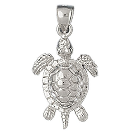 14k White Gold Turtles Pendant by K&C