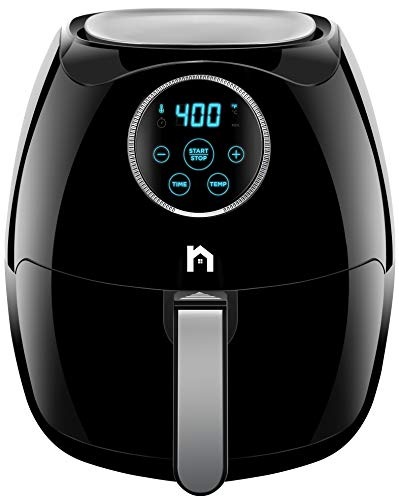 New House Kitchen Digital 6.5 Liter/6.8 Quart Air Fryer with Space Saving Flat Basket Oil-Free Airfryer W/ 60 Min Timer & Auto Shut Off Black
