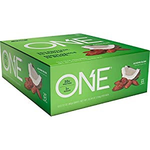 ONE Protein Bar, Almond Bliss, 20g Protein, 1g Sugar, 12-Pack