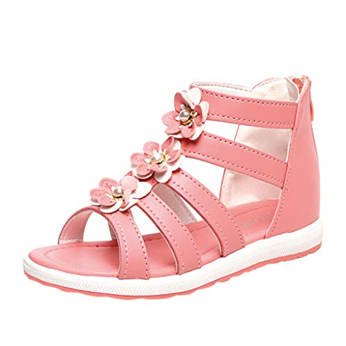 Price comparison product image Mysky Summer Toddler Baby Kids Girls Popular Sweet Pearl Flower Hollow Zip Princess Sandals Red
