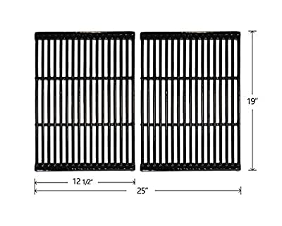 Hongso PCF662 Porcelain Coated Cast Iron Cooking Grates Replacement for Brinkmann, Charbroil, Charmglow and Other Grills, Set of 2
