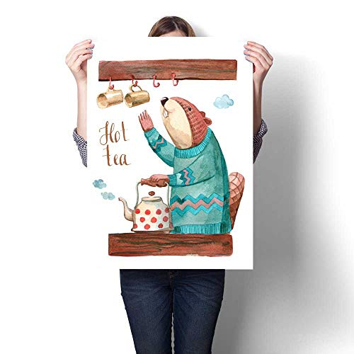 Hanging Painting Beaver in Sweater in The Kitchen Making Tea Ready to Hang for Home Decorations Wall Decor 16