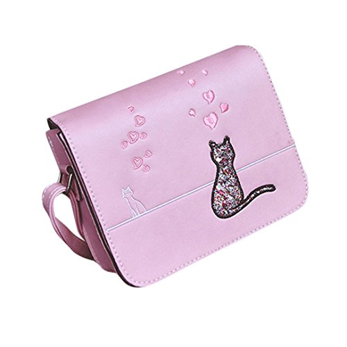Sinwo Women Cat Printing Handbag Bags Shoulder Bags Girls Messenger Bag (Pink)
