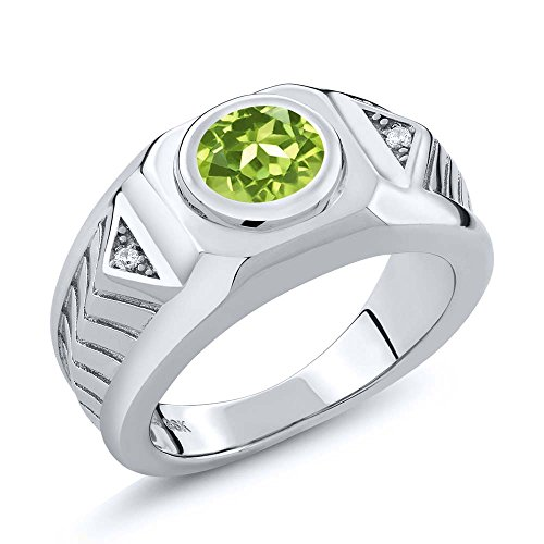 2.03 Ct Round Green Peridot 925 Sterling Silver Men's Ring