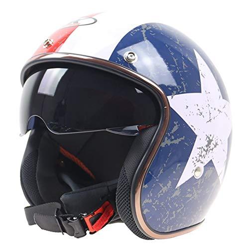 Open Face Motorcycle Helmet,DOT Certified Retro Style Leather Scooter Sport Motorbike Jet Pilot Visor for Training Mountain Road Highway Biker Cruiser Chopper 56-62cm
