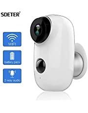 SDETER Outdoor Security Camera,Wireless Rechargeable Battery Powered Surveillance System,WiFi IP Hd CCTV Video House Monitor