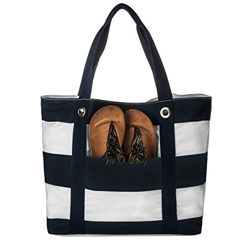 La Clé LA-018 Large Capacity Shopper Canvas Tote Shoulder Bag (Navy/ White Stripe) (Tote Stripe White)