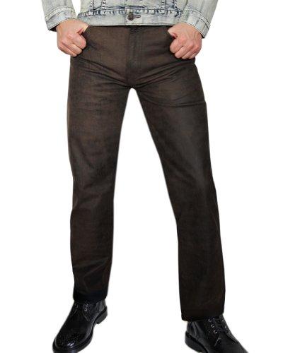 Mens Suede Pants (Fuente Men Suede Leather Pants Trouser Carpenters Military Jeans Lederhose, Size: W34/L36)