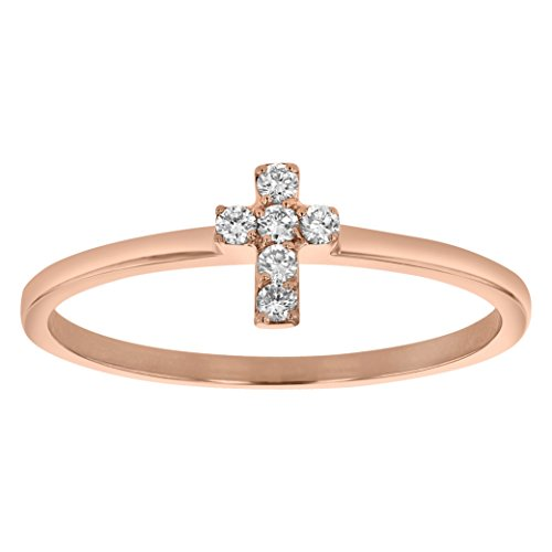 Olivia Paris Diamond Cross Ring in 14k Rose Gold (0.08 cttw, H-I Color, SI2-I1 Clarity) Size 6.5