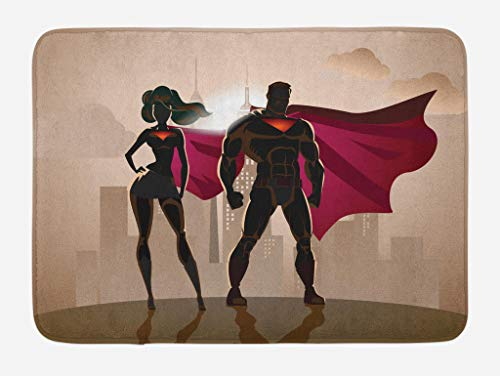 Ambesonne Superhero Bath Mat, Super Woman and Man Heroes in City Hot Couple in Costume Pattern, Plush Bathroom Decor Mat with Non Slip Backing, 29.5 W X 17.5 L Inches, Beige Brown and Magenta