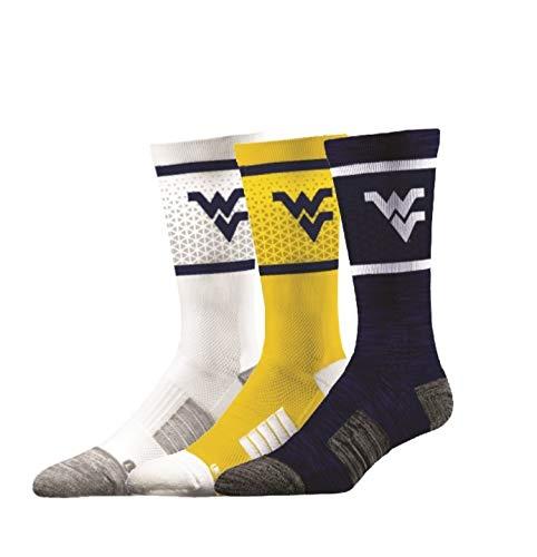Elite Fan Shop West Virginia Mountaineers Socks 3-Pack - Mens (8-12) - ()