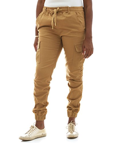 - Riflessi Women's Stretch Twill Cargo Jogger Pants-Wheat-S