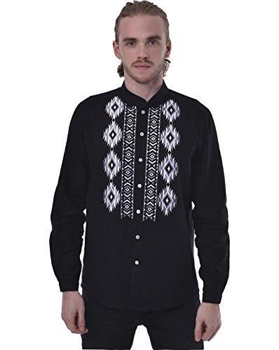 Men's Embroidered Shirt. Ukrainian Vyshyvanka. Traditional Ukrainian Linen Long Sleeve Shirts With Collar (XXL) by 2kolyory
