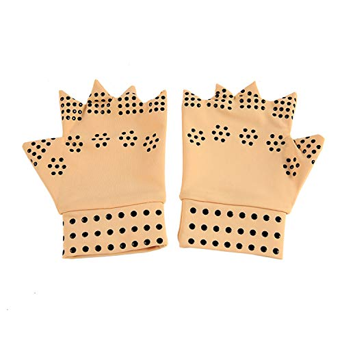 Latex Magnetic Therapy Gloves Health Care Semi-Finger Elastic Joints Anti-Edema Pressure ()