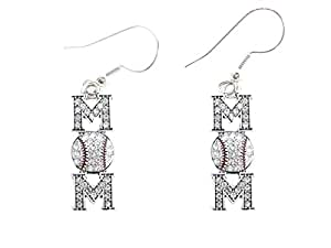 Baseball Mom Clear Crystals Red Stitching French Hook Earrings Sports Jewelry
