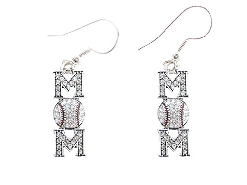 (Baseball Mom Clear Crystals Red Stitching French Hook Earrings Sports)