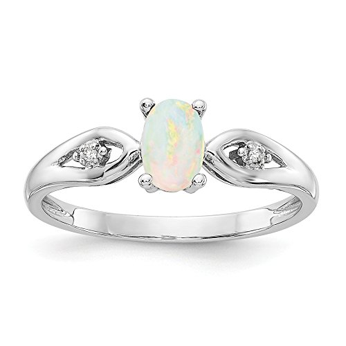 14k White Gold Opal Diamond Band Ring Size 7.00 Stone Birthstone October Fine Jewelry Gifts For Women For Her