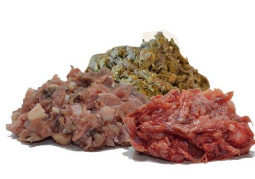 Barf-Paket * Allerlei Buntes * 25x 500g (12,5kg) abwechselungsreiches gewolftes Barffleisch für Hunde und Katzen | frisches gefrorenes Hundefutter und Katzenfutter wie vom Metzger | Das hochwertige Frostfleisch bestehend aus Fleischmix, Pansen, Rinderherz, Kehlfleisch, Niere, Leber und Hähnchenhälse