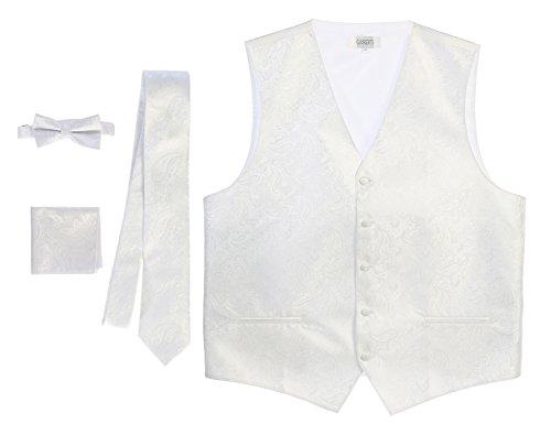 - Gioberti Men's 4 Piece Formal Paisley Vest Set, White, Medium