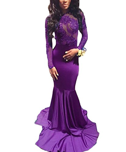 Price comparison product image alilith.Z Sexy Illusion Open Back Long Mermaid Prom Dresses Appliques Evening Party Dresses For Women With Sleeves