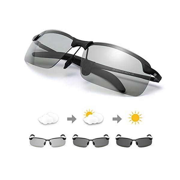 TJUTR Men's Photochromic Sunglasses with Polarized Lens for Outdoor 100% UV...