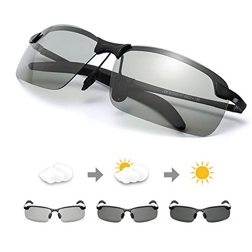 TJUTR Men's Photochromic Sunglasses with Polarized Lens for Outdoor 100% UV Protection, Anti Glare, Reduce Eye Fatigue (Black2 Rectangular Frame/Grey Photochromic Polarized ()